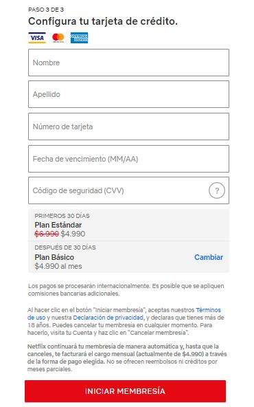 pagar netflix con cuenta rut visa paso 5